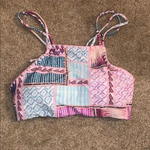 Multicolored pink and blue patterned swim top